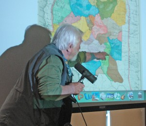 "Jack Loeffler explains the concept of ""thinking like a watershed"" using John Wesley Powell's geological survey map."